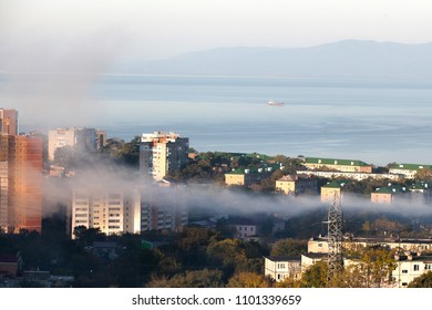 Fog in Vladivostok city, Russia