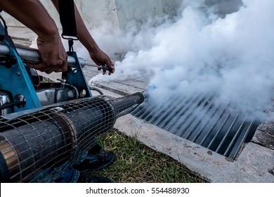 Fogging into the drain to prevent spread of dengue fever