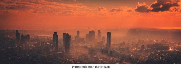 Foggy aerial and artistic view from Istanbul during sunset