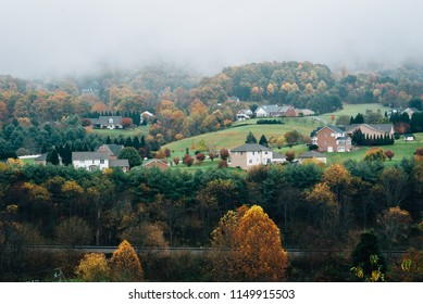 Foggy Appalachian autumn view from the Blue Ridge Parkway, near Roanoke, Virginia.