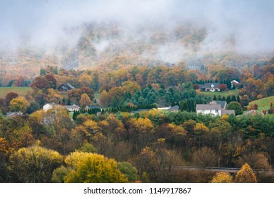 Foggy Appalachian autumn view from the Blue Ridge Parkway, near Roanoke, Virginia.