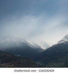 foggy atmosphere around french alps