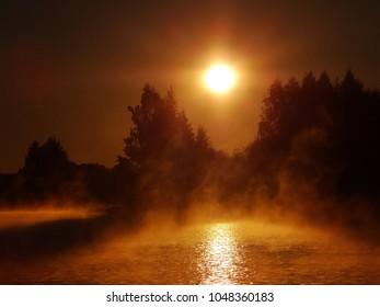 Foggy autumn morning . Lithuania landscape