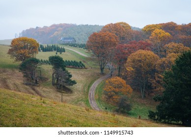 Foggy autumn view of a farm along the Blue Ridge Parkway in Virginia.