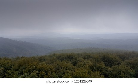 Foggy Beskidy mountains in Poland