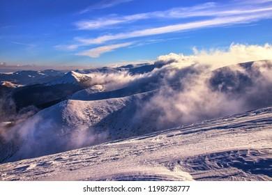 Foggy and cloudy Karpaty mountains near Hoverla peak