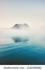Foggy cold sea moody landscape travel misty morning view nature scenery