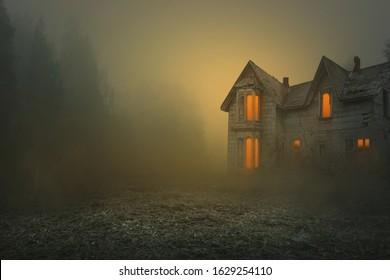 foggy and creepy old house