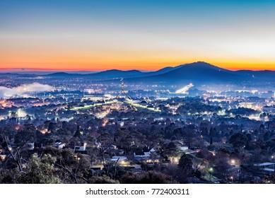 Foggy Dawn Skyline in Canberra