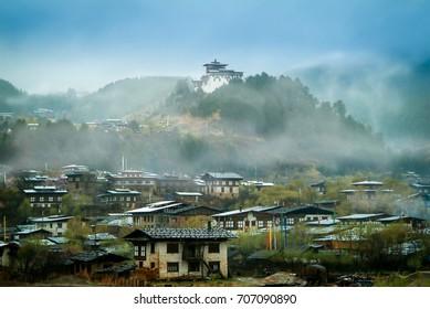 Foggy Day at Jarkar Dzong Town the capital of Bumthang District, Bhutan.