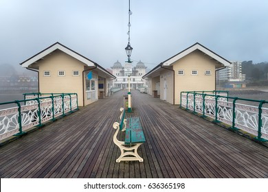 A foggy day at Penarth Pier at Cardiff on the south coast of Wales