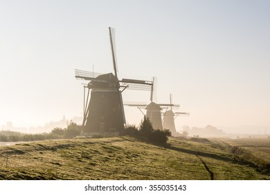 A foggy day in a typically Dutch landscape
