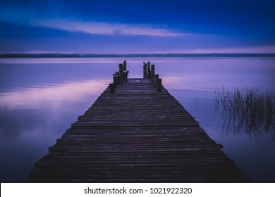 Foggy dock, El Remate, Guatemala