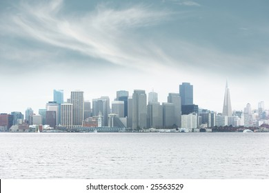 Foggy downtown San Francisco