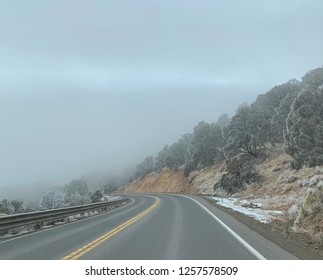 Foggy drive through the mountains.
