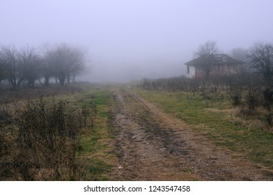 Foggy fuzzy view of the dirt road in the village in the Balkans