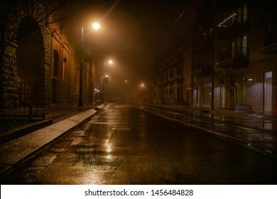 Foggy Gloomy Street by Night