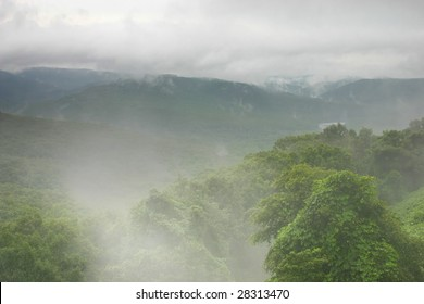 foggy green mountains in the morning
