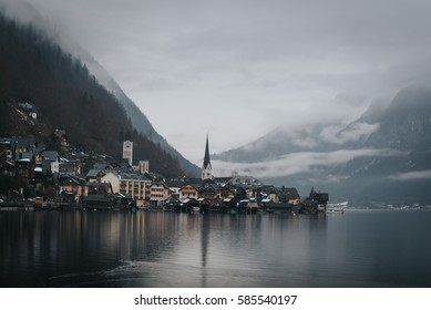 Foggy Hallstatt, a small town in upper austria