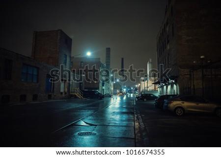 Foggy industrial urban street