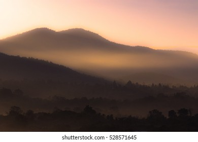 Foggy Landscape Morning Time  , Nature background in Northern Thailand, Chiang Mai