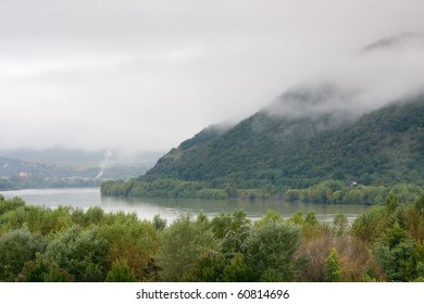 foggy landscape with mountain -Visegr?d, Hungary