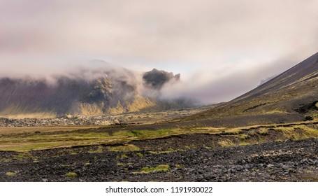 Foggy Landscape near Raudfeldsgja Gorge, Snaefellsnes Peninsula, Iceland