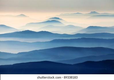 Foggy landscape in the Romanian Carpathians