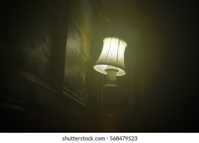Foggy Little Lamp on a Dark Background
