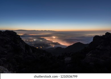 Foggy Los Angeles California dawn view of Porter Ranch and the 118 freeway in the San Fernando Valley.