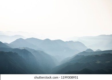 Foggy and misterious mountains