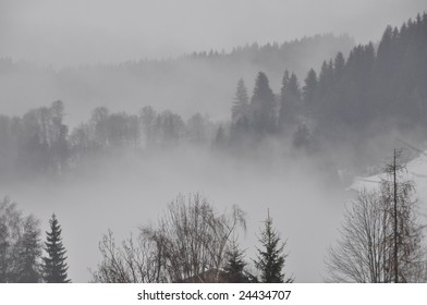 Foggy morning in the Alps of Austria