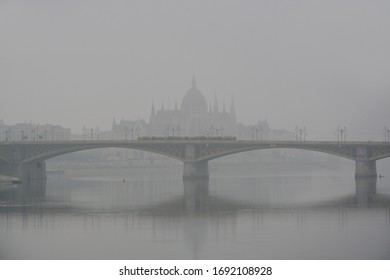 Foggy morning city with parliament in background