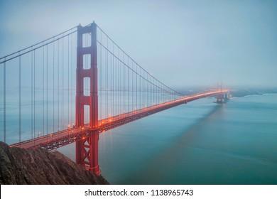 A foggy morning at Golden Gate Bridge, San Francisco, USA.