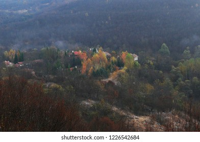 Foggy morning in the mountain village in Stara Planina