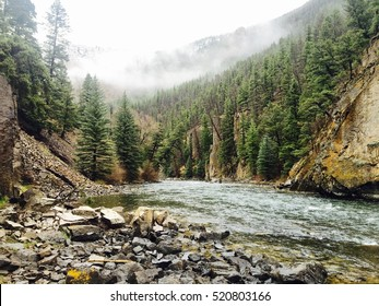 Foggy morning on the Blue River in Colorado