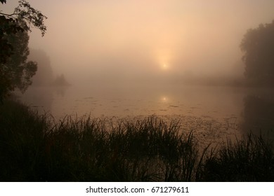 Foggy morning on the lake  - Shutterstock ID 671279611