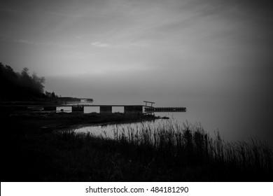 Foggy Morning On Maskinonge Bay, Near Lake Superior