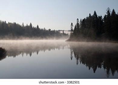 Foggy morning on the Mastigouche Nature Reserve