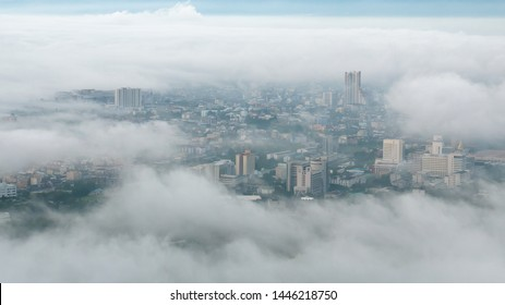 Foggy morning over the city
