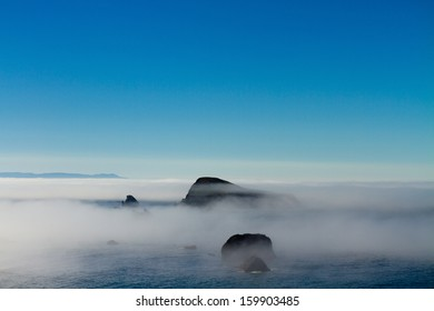 foggy morning over Goat Island, Brookings, Oregon