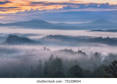 foggy morning over the national park Bohemian Switzerland, Czech Republic