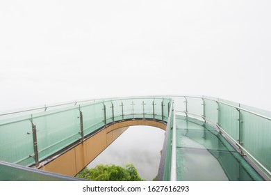Foggy morning of View Point and Sky walk at Wat Pha Tak Suea in Nong Khai City,Thailand