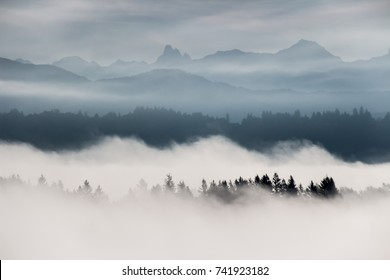 Foggy mountain landscape in British Columbia, Canada