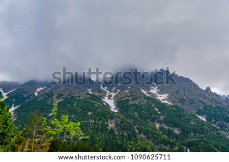 Foggy mountain peak of Vysoke Tatry in Poland