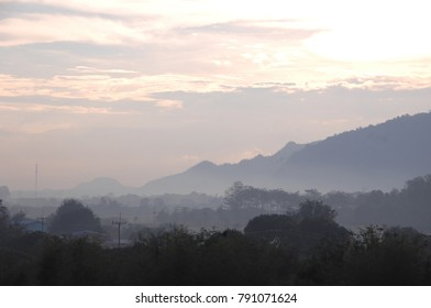 Foggy Mountain Valley Sunrise