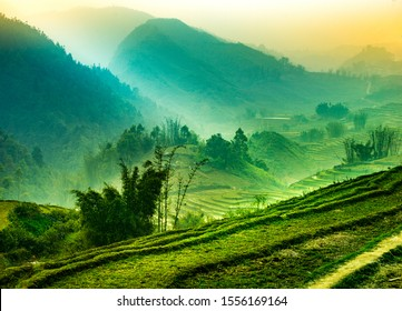 Foggy mystical rice fields in the lush green mountains of Sapa Valley Northen Vietnam