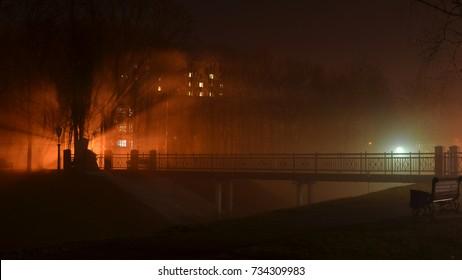 Foggy night at the Festivalny Park. Gomel, Belarus.