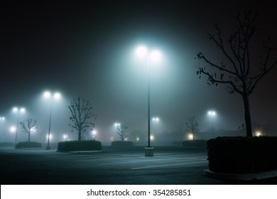 foggy night parking lot