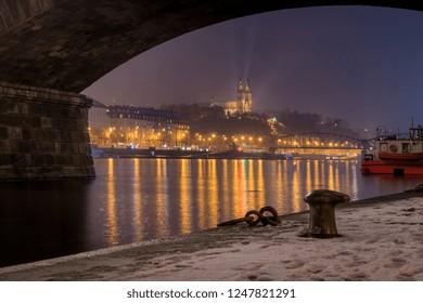 Foggy night under Palackeho bridge view beautiful view on Vysehrad